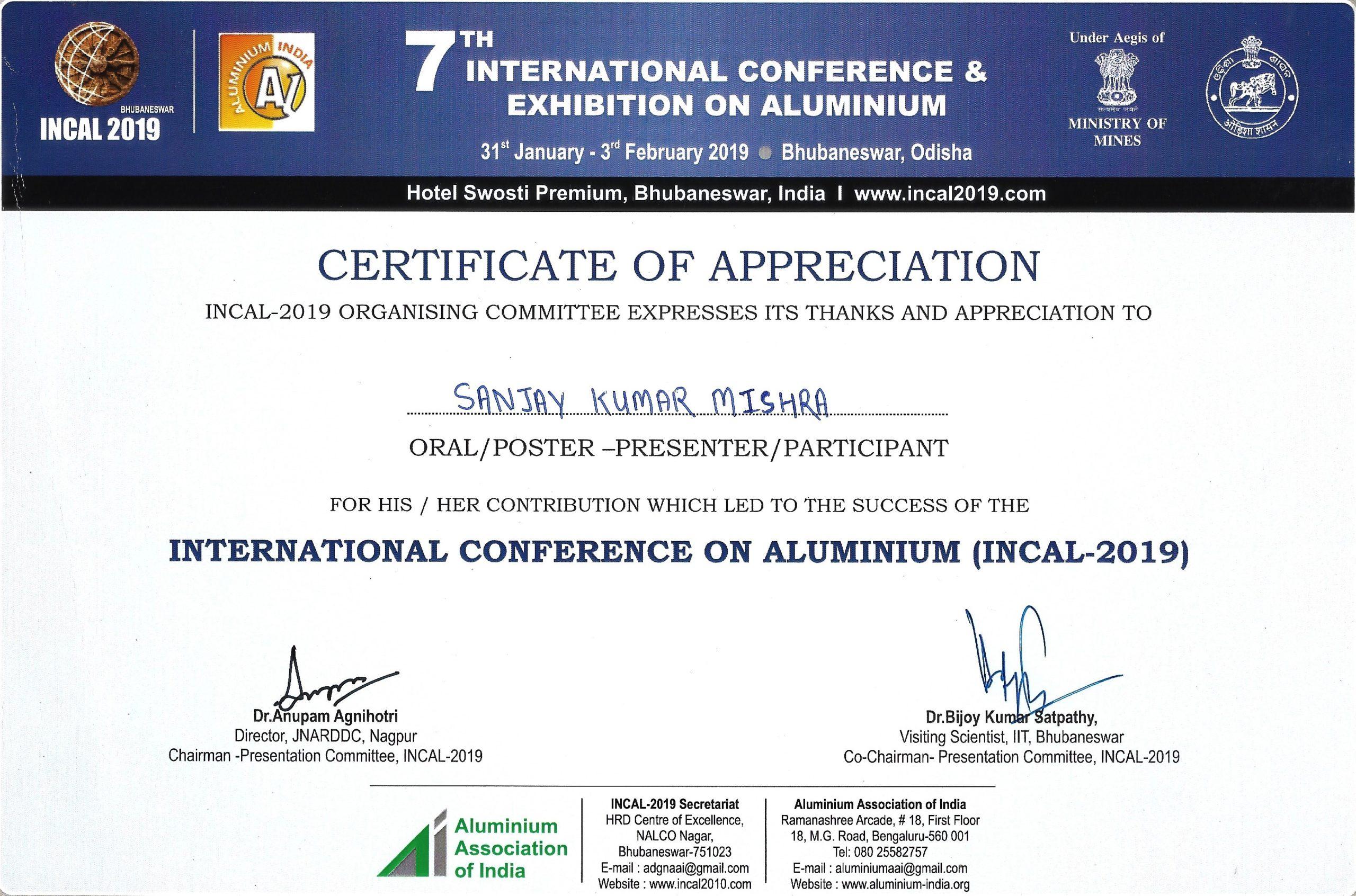 Appreciation by Aluminium Association of India